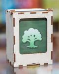 Pudełko drewniane z szybką na karty